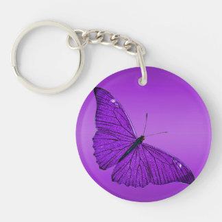 Mariposa púrpura oscura de los 1800s del vintage llavero redondo acrílico a una cara