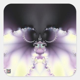 Mariposa púrpura calcomanía cuadradas personalizadas