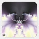 Mariposa púrpura pegatina cuadrada