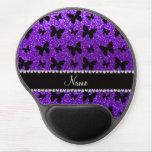 Mariposa púrpura personalizada del brillo del añil alfombrilla de raton con gel