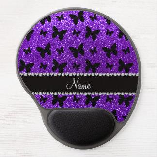 Mariposa púrpura personalizada del brillo del añil alfombrilla con gel