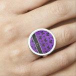 Mariposa púrpura personalizada del brillo del añil anillos con foto