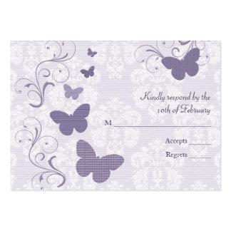 Mariposa púrpura que casa las tarjetas de RSVP Tarjetas Personales