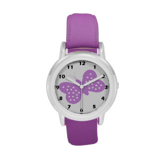 Mariposa púrpura reloj de mano