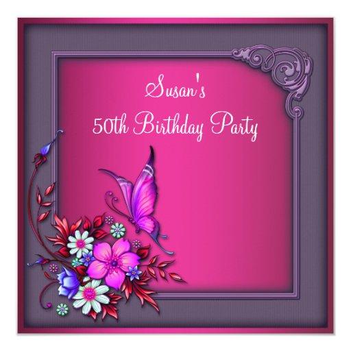 """Mariposa púrpura rosada del 50.o cumpleaños de la invitación 5.25"""" x 5.25"""""""