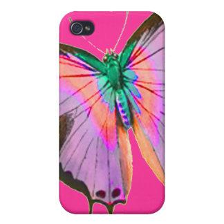 Mariposa púrpura rosada iPhone 4/4S carcasas