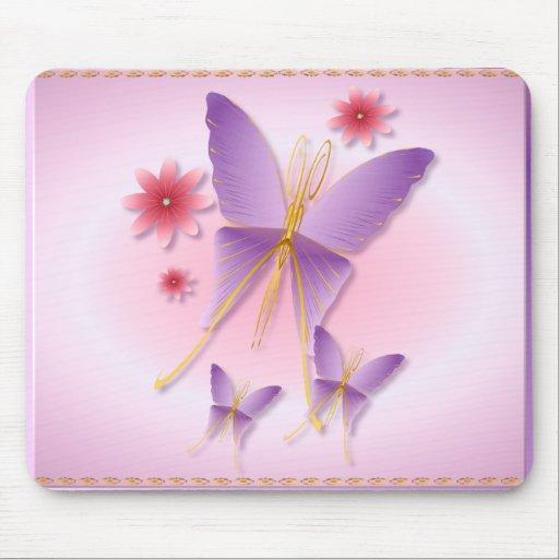 Mariposa púrpura suave Mousepad Alfombrillas De Ratón