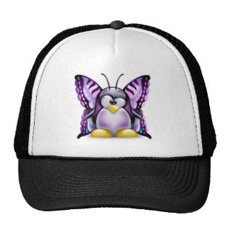 Mariposa púrpura Tux (Linux Tux) Gorro