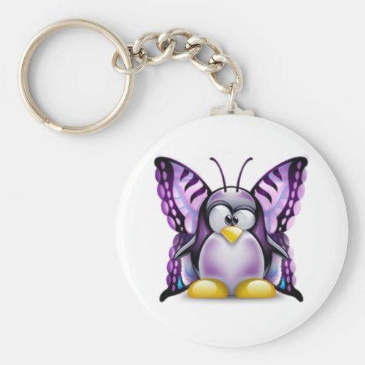 Mariposa púrpura Tux (Linux Tux) Llavero