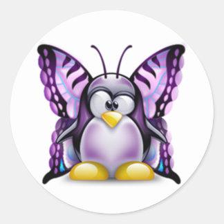 Mariposa púrpura Tux (Linux Tux) Pegatina Redonda