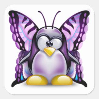 Mariposa púrpura Tux (Linux Tux) Pegatinas Cuadradases