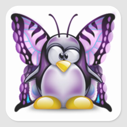Mariposa púrpura Tux (Linux Tux) Pegatina Cuadrada