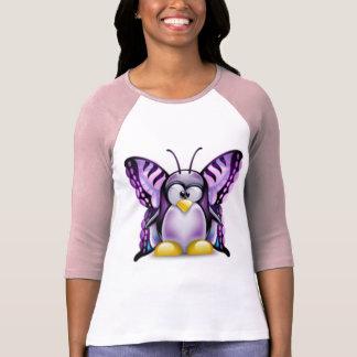 Mariposa púrpura Tux (Linux Tux) Camiseta