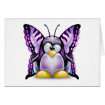 Mariposa púrpura Tux (Linux Tux) Tarjetas