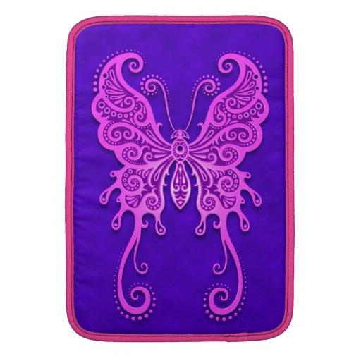 Mariposa púrpura y azul compleja fundas para macbook air