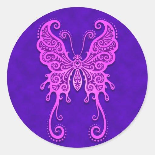 Mariposa púrpura y azul compleja etiqueta