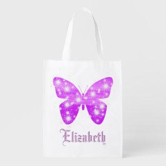 Mariposa púrpura y estrellas personalizadas con bolsas de la compra