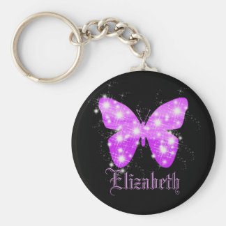 Mariposa púrpura y estrellas personalizadas con llavero redondo tipo pin