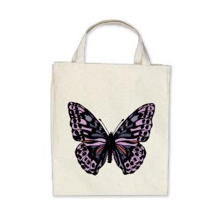 Mariposa púrpura y negra bolsas de mano