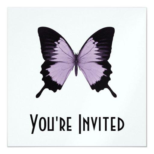 """Mariposa púrpura y negra grande invitación 5.25"""" x 5.25"""""""
