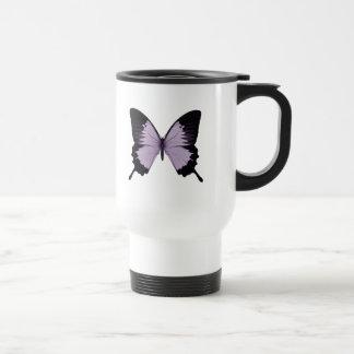 Mariposa púrpura y negra grande taza de viaje