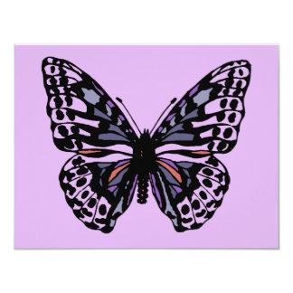 """Mariposa púrpura y negra invitación 4.25"""" x 5.5"""""""