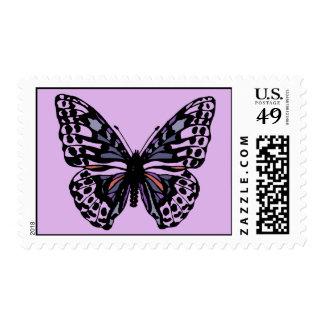 Mariposa púrpura y negra sellos postales