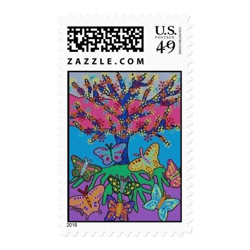 Mariposa que recolecta el árbol del sello de la vi