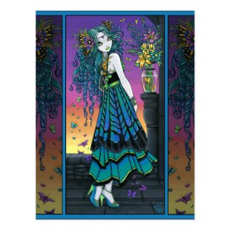 Mariposa Rainbow Butterfly Flower Fairy Postcard