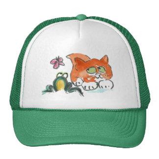 Mariposa, rana y gatito gorro de camionero