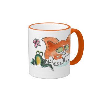 Mariposa, rana y gatito tazas