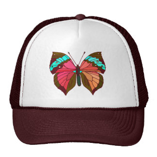 Mariposa rayada de la turquesa gorra