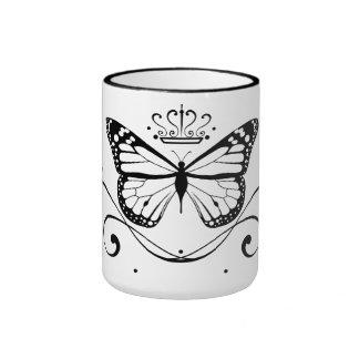 Mariposa real elegante taza a dos colores