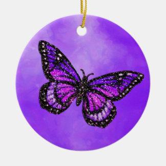 Mariposa reluciente en acuarela adorno navideño redondo de cerámica