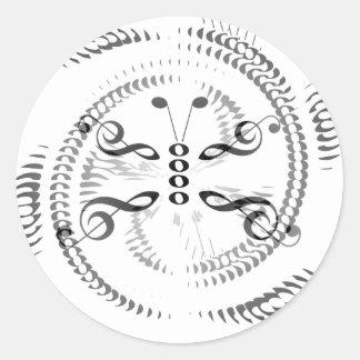 Mariposa remolinada de la música pegatina redonda