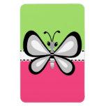 Mariposa retra hermosa en fondo rosado del trullo imán
