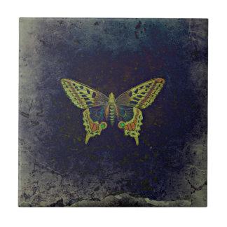 Mariposa retra rústica azulejo cuadrado pequeño