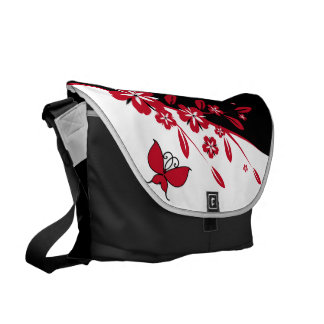 Mariposa roja blanca negra moderna elegante floral bolsa messenger