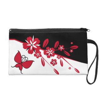 Mariposa roja blanca negra moderna elegante floral