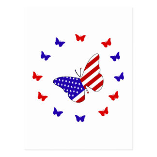 Mariposa roja, blanca y azul sólida postal