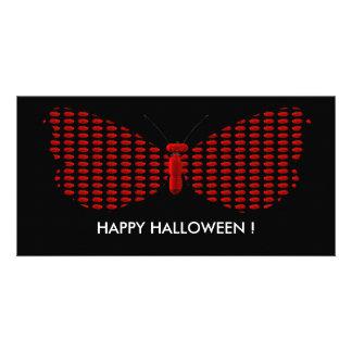 Mariposa roja de Halloween Tarjeta Fotografica Personalizada