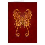 Mariposa roja de oro compleja tarjeta