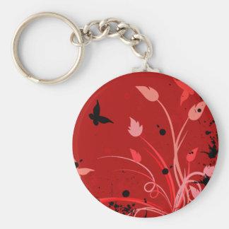 Mariposa roja del Grunge Llavero Redondo Tipo Pin