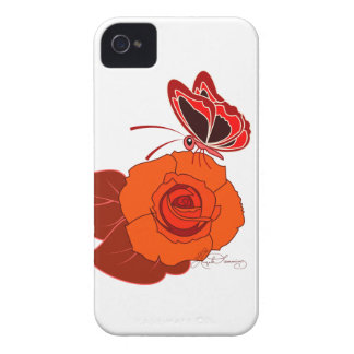 Mariposa roja en un rosa rojo iPhone 4 fundas