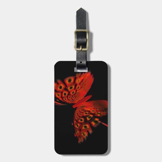 Mariposa roja etiquetas para maletas