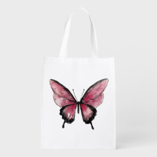 Mariposa roja grande bolsa reutilizable
