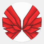 Mariposa roja III Pegatinas Redondas