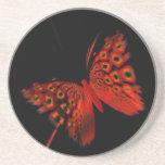 Mariposa roja posavasos diseño