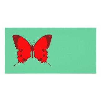 Mariposa roja plantilla para tarjeta de foto
