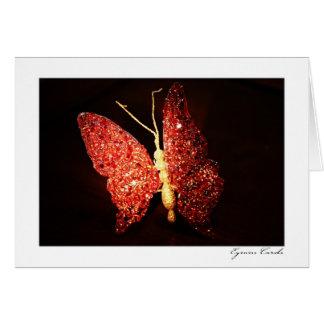 Mariposa roja tarjeta de felicitación